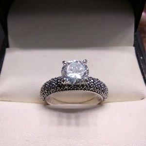 Vintage 2.50ct AAA White Diamonds & Marcasite 925